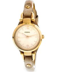Fossil - Women's Georgia Es3262 Rose-gold Leather Japanese Quartz Fashion Watch - Lyst