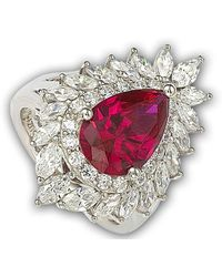 Suzy Levian - 18k Gold And Sterling Silver Created Red Ruby Ring - Lyst