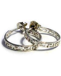 JewelryAffairs | Sterling Silver Rhodium Plated Ancient Greek Key Hoop Earrings | Lyst