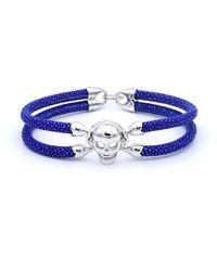 Double Bone - Single Slkull Bracelet Silver/ Blue Stingray - Lyst