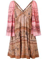 Valentino - Women's Multicolor Silk Dress - Lyst