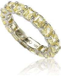 Suzy Levian - Sterling Silver Cubic Zirconia Yellow Modern Eternity Band - Lyst