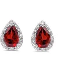 Amanda Rose Collection - 14k White Gold Pear Garnet And Diamond Earrings - Lyst