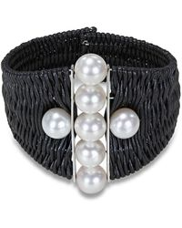 Catherine Malandrino - Woven Cuff Bracelet With Freshwater Cultured Pearls - Lyst