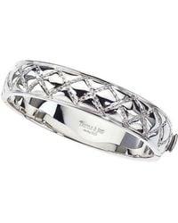 Jewelista - Sterling Silver Slim Quilted Bangle Bracelet - Lyst