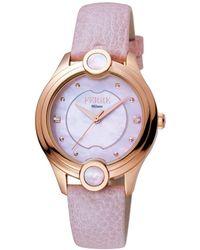 Ferrè Milano - Women's Swiss Made Swiss Quartz Light Pink Leather Strap Watch - Lyst
