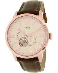 Fossil - Men's Townsman Me3105 Rose Gold Leather Automatic Dress Watch - Lyst