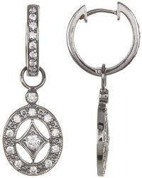 Adornia - Sterling Silver And Swarovski Crystal Vintage Earrings - Lyst