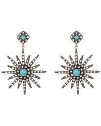 Adornia - Turquoise And Swarovski Crystal Starburst Earrings - Lyst