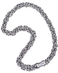 Jewelista - Stainless Steel Byzantine Pendant Necklace - Lyst