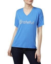 Peace Love World - Mia Grateful Graphic V-neck T-shirt - Lyst
