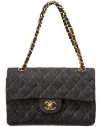Chanel - Black Quilted Denim Small Double Flap Bag - Lyst