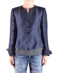 Armani - Women's Blue Linen Cardigan - Lyst