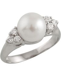 Splendid - Triple Cz Pearl Ring - Lyst