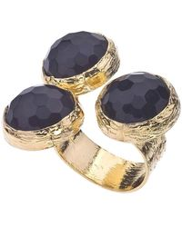 Jewelista - 18k Gold Plate & Onyx Floating Ring - Lyst