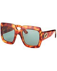 Gucci - Gg 0053s 002 Light Havana Square Sunglasses - Lyst e0c468f67e