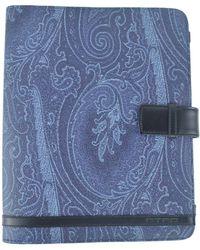 Etro - Blue Paisley Print Black Leather Paneled Ipad Case - Lyst