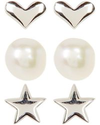 Adornia - Sterling Silver Star, Heart, And Freshwater Pearl Stud Set - Lyst