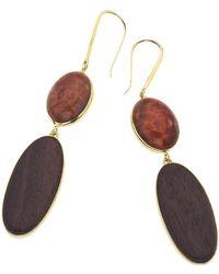 Jewelista - 18k Vermeil Fire Agate Earrings - Lyst