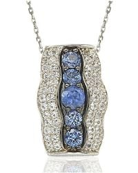 Suzy Levian - Sterling Silver And 18k Gold Sapphire And Diamond Pendant - Lyst