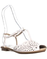 Easy Spirit - Gisselle Perforated Flat Sandals, White - Lyst