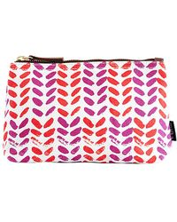 Maika - Leaves Print Zipper Pouch, Medium - Lyst