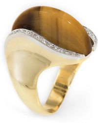 Unbranded - Pre Owned 1970s Tigers Eye Diamond Cocktail Ring Vintage 18 Karat Yellow Gold - Lyst