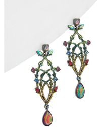 Betsey Johnson - Surreal Forest Cz & Enamel Multi-color Chandelier Flower Earrings - Lyst