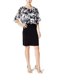 Connected Apparel - Printed Cape Overlay Sheath Dress - Lyst