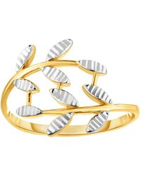 Jewelry Affairs - 14k Two Tone Gold Diamond Cut Olive Leaf Branch Design Ring, Size 7 - Lyst