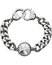 Eklexic - Crystal Curb Chain & Handcuff Clasp Bracelet (silver / Crystal) - Lyst