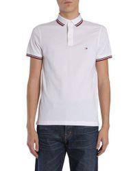 Tommy Hilfiger - Men's White Cotton Polo Shirt - Lyst
