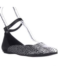 Kenneth Cole - Reaction Snub City Pointed-toe Ankle Strap Ballet Flats - Black White Snake - Lyst