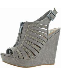 e254d4a11a3 Not Rated - Womens Saucin Front Zipper Detail Embroided Wedge Sandals - Lyst