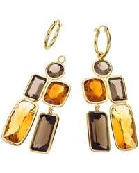 Jewelista - 18k Vermeil, Smoky Quartz & Citrine Drop Earrings - Lyst