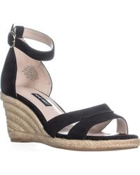 c43e266035f1 Gucci Carolina Ankle-Strap Wedge Espadrilles in Black - Lyst