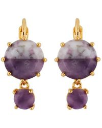 Les Nereides - Special La Diamantine Round Marbled Purple Stones French Hook Earrings - Lyst