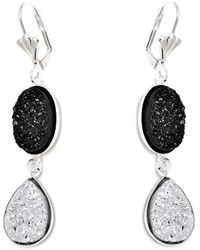 Peermont - Silver And Black Druzy Crystal Oval And Teardrop Drop Earrings - Lyst