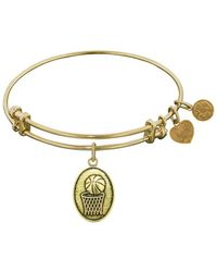 Angelica - Smooth Finish Brass Basketball Bangle Bracelet, 7.25 - Lyst