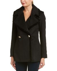 Belle By Badgley Mischka - Chiara Velvet-trim Wool-blend Coat - Lyst