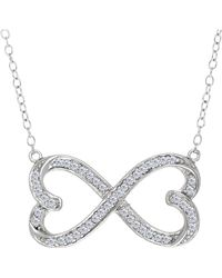 JewelryAffairs | Double Heart Infinity Sign And Cz Necklace In Sterling Silver, 18 | Lyst