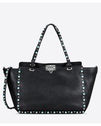 Valentino - Black Leather Rockstud Rolling Turquoise Stone Tote Bag - Lyst