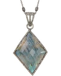 Adornia - Labradorite And Champagne Diamond Augustina Long Pendant Necklace - Lyst