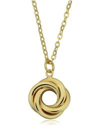 "JewelryAffairs | 10k Yellow Gold Love Knot Pendant On 18"" Necklace 