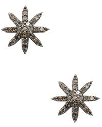 Adornia - Champagne Diamond And Sterling Silver Starburst Studs - Lyst
