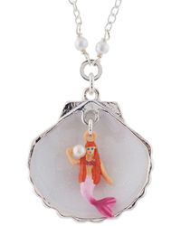 Les Nereides - I Am A Mermaid Little Mermaid In Her Silver Shell Necklace - Lyst