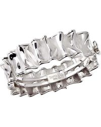 Jewelista - Sterling Silver Ruffle Hinged Bangle Bracelet - Lyst