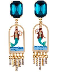Les Nereides - I Am A Mermaid Litlle Mermaid And Green Stone Earrings - Lyst