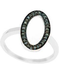 Barzel - Sterling Silver 0.24cttw Genuine Open Oval Blue Diamond Ring - Lyst
