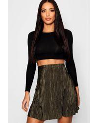 Boohoo - Pleated Skater Skirt - Lyst